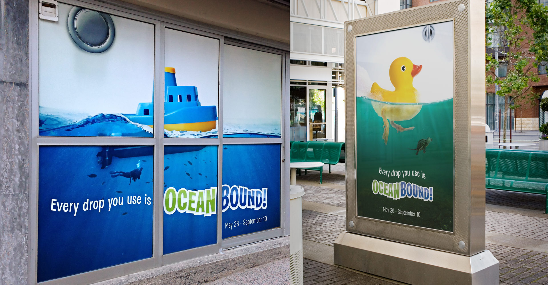 Ocean Bound Prin advertisements, rubber duck, toy boat.