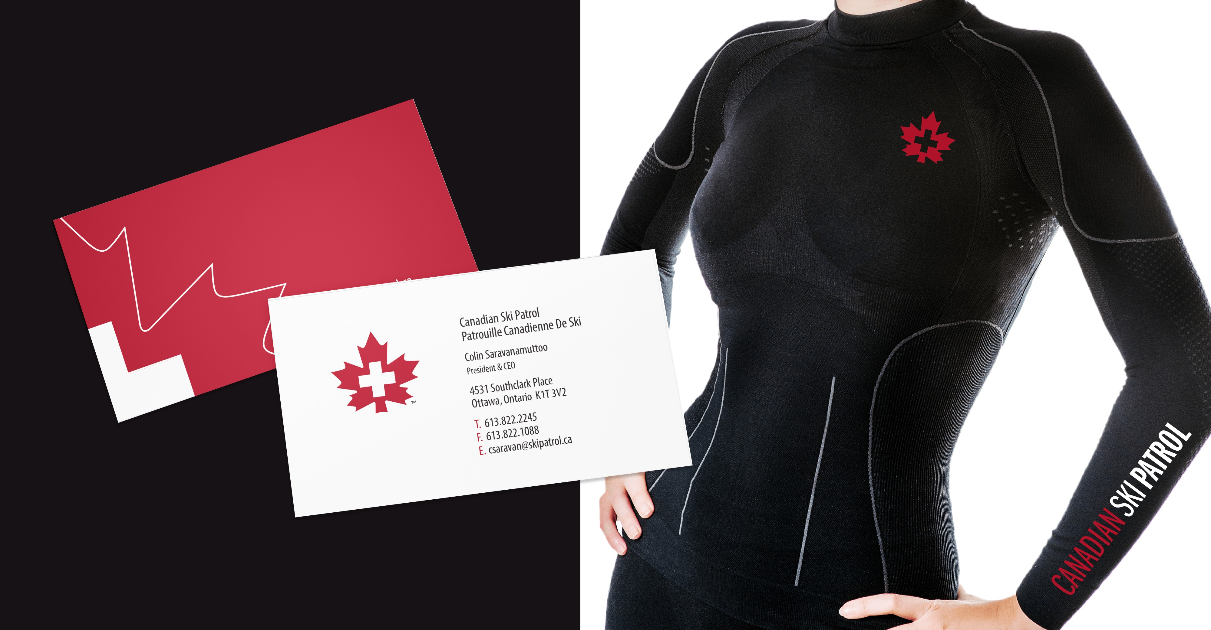 Canadian Ski Patrol business card and T-Shirt Design