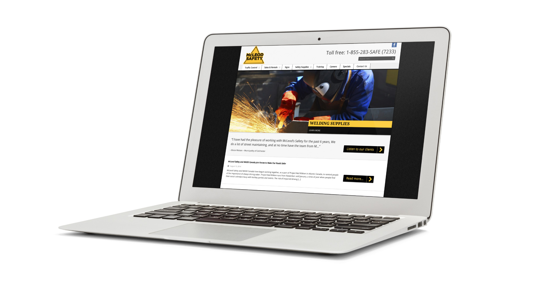 McLeod Saftey website design laptop